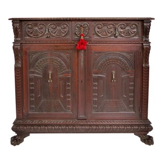 American Renaissance Revival Carved Cabinet by S. Pagano, New York Dated 1930 For Sale