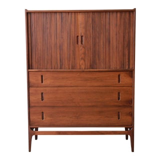 Richard Thompson for Glenn of California Walnut & Rosewood Tambour Door Highboy For Sale