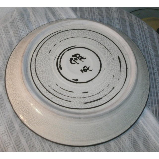 Large Deep Crackle Ceramic Swimming Fish Platter Hand Signed & Numbered For Sale - Image 9 of 11