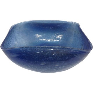 Archimede Seguso Blue Murano Pulegoso Glass Bowl For Sale