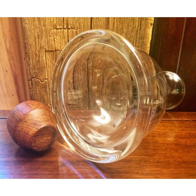 Danish Modern Vintage Holmegaard Denmark Teak & Glass Decanter Wine Carafe For Sale - Image 3 of 5