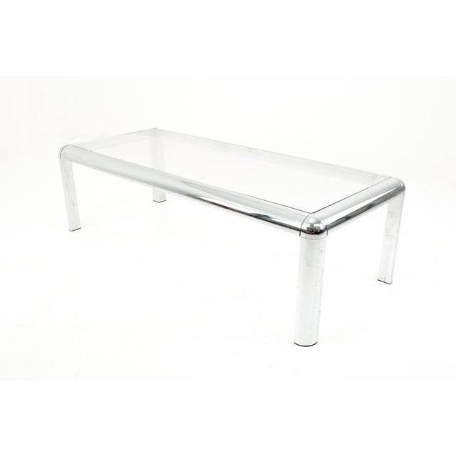 Mid-Century Modern Mid Century Chrome and Glass Coffee Table For Sale - Image 3 of 9