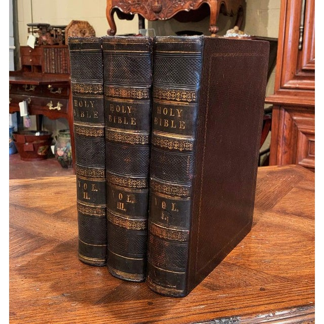19th Century English Leather Bound and Gilt Holy Family Bible - 3 Volume Set For Sale - Image 4 of 7