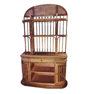 1980s Boho Chic 2 Tier Rattan Etagere on a Demilune Bentwood Roped Console - 2 Pieces For Sale
