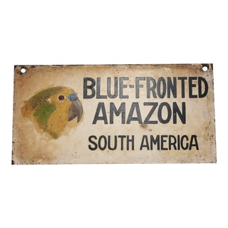 """1930s Vintage Hand-Painted Sign of """"Blue Fronted Amazon"""" For Sale"""