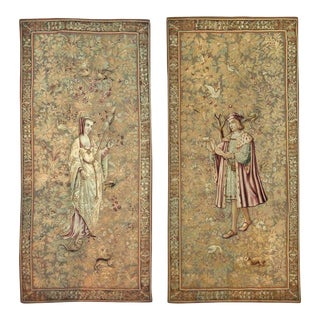 17th to Early 18th Century Antique Franco Flemish Tapestry Panels - a Pair