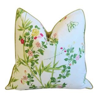 """Scalamandré Floral De Jardin Chine Feather/Down Pillow 24"""" Square For Sale"""