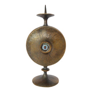 Mid-Century Modernist Bronze Candle Holder For Sale