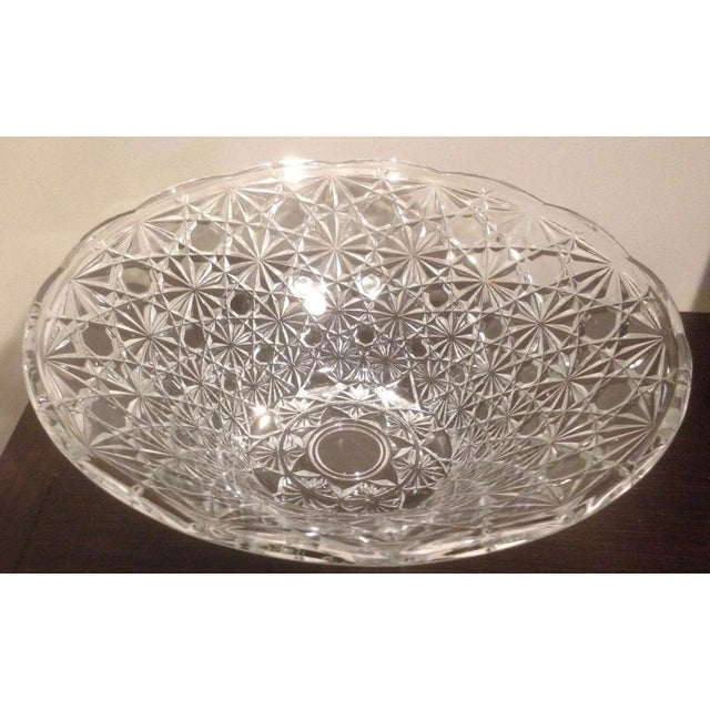 Vintage Cut Lead Crystal Bowl For Sale - Image 10 of 11
