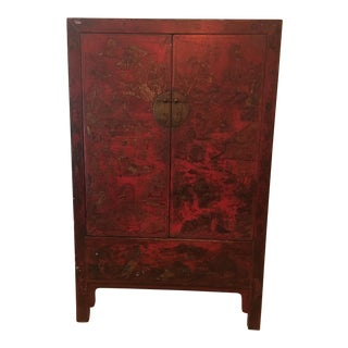 19th Century Antique Chinese Chinoiserie Hand-Painted Red Lacquer Cabinet For Sale