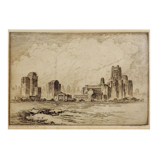 N W University Chicago River Scene by Kent Hagerman Etching For Sale