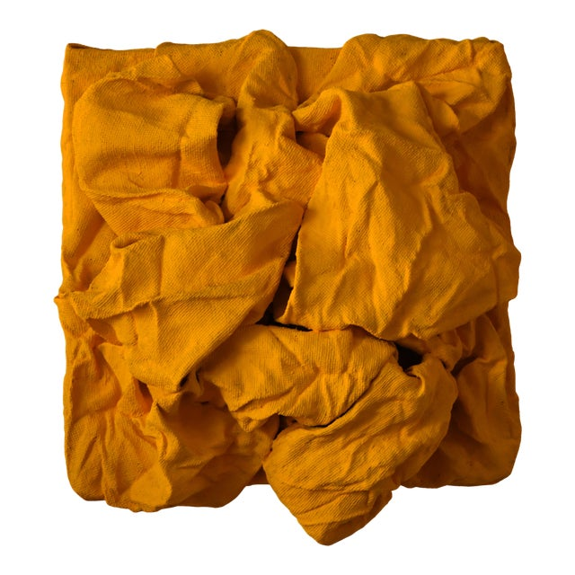 Golden Yellow Folds Mixed Media Wall Sculpture For Sale