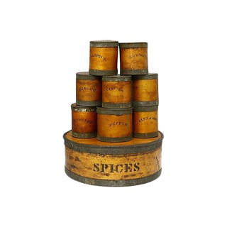 Antique Pantry Spice Boxes - 9 Pieces For Sale