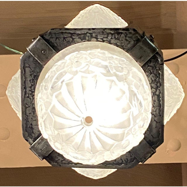 Art Deco French Iron Art Deco Hanging light with Muller Style Multiple Glass For Sale - Image 3 of 10
