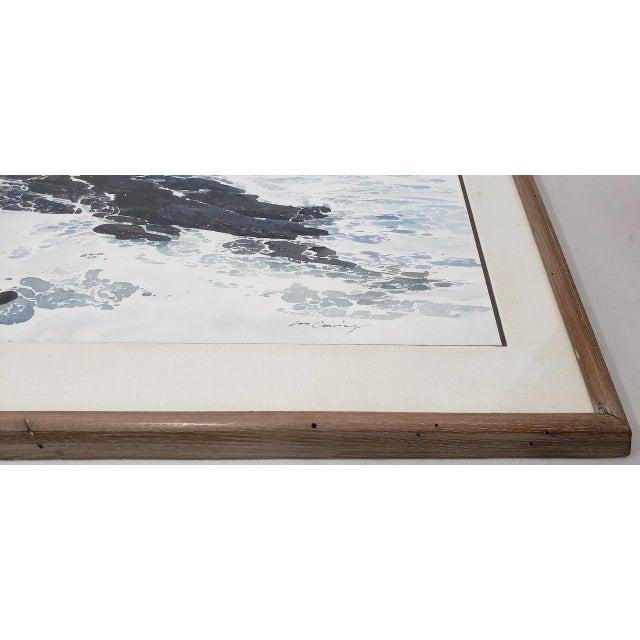 Merv Corning (1926-2006) Rocky Coastal Landscape Watercolor Fine original watercolor by listed artist Mervin Allen...