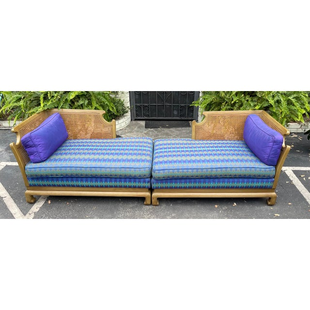 Grosfeld House Grosfeld House Hollywood Regency Mid Century Modern Chinese Chippendale 2 Part Sofa For Sale - Image 4 of 6
