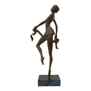 "Bronze Sculpture of Ballet Dancer, Titled ""Poised"", American, Bunny Adelman, 86' For Sale"