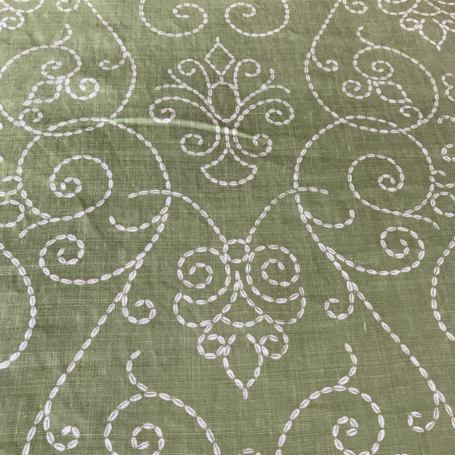 "Raoul ""Vizcaya"" Textiles Green Linen Fabric 2 1/3 Y For Sale In New York - Image 6 of 9"
