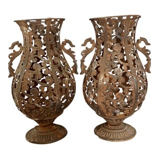 Vintage Neoclassic Rustic Metal Garden Urns With Handles - a Pair For Sale