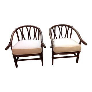 1970s Mid-Century Modern Ficks-Reeds Reed Side Chairs Designed by J. Wisner