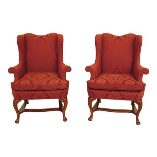 Kindel Damask Upholstered Mahogany Wing Chairs - A Pair For Sale