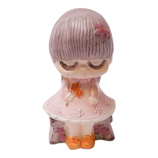 """Mid-Century Japanese Paper Mache """"Girl With Flowers"""" Bank For Sale"""