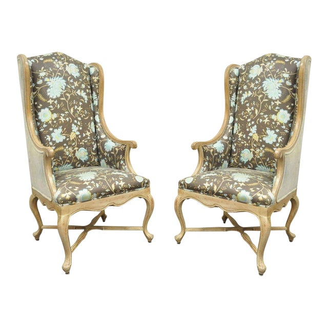 Pair of Hollywood Regency French Country Carved Wing Back Fireside Lounge Chairs - Image 1 of 11