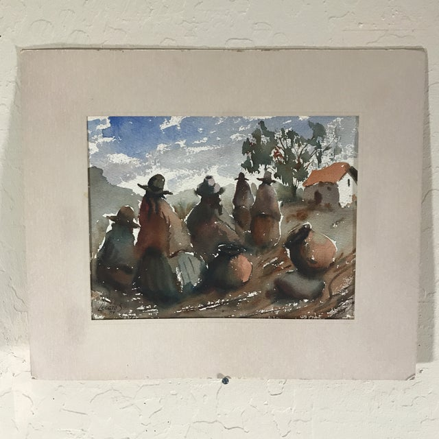 Paint Vintage Peruvian Watercolor Painting By Hugo Lecaros For Sale - Image 7 of 7