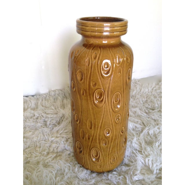 West German large ceramic floor vase with gorgeous curry color glaze by Scheurich. Koralle/ Fat Lava. Marked 288/51 W...