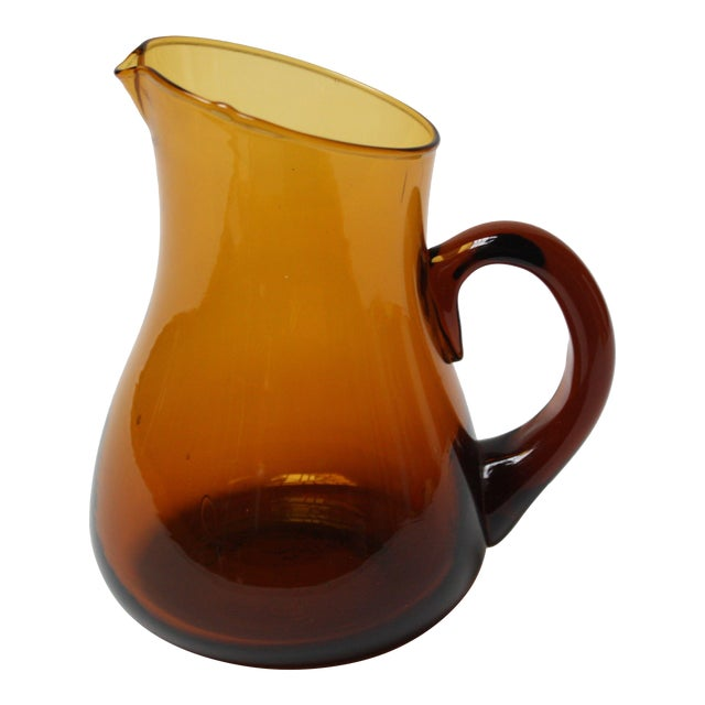 Mid Century American Modern Brown Glass Pitcher / Creamer by Pilgrim For Sale