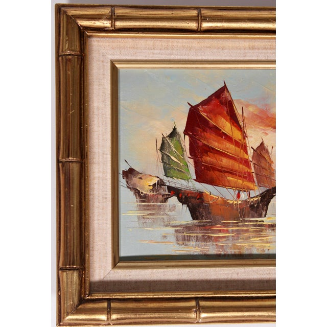 Vintage Coastal Nautical Sailboat Oil Painting For Sale - Image 9 of 11
