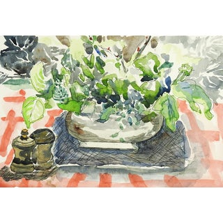 Modernist Still Life Tabletop Watercolor For Sale