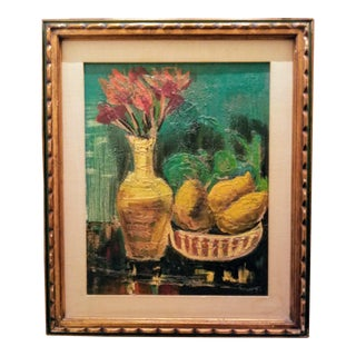 """Mid-Century Abstract """"Fruit and Floral Arrangement"""" Painting For Sale"""