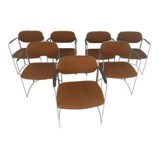 Set of Seven Vintage Modern Conference or Dining Chairs For Sale