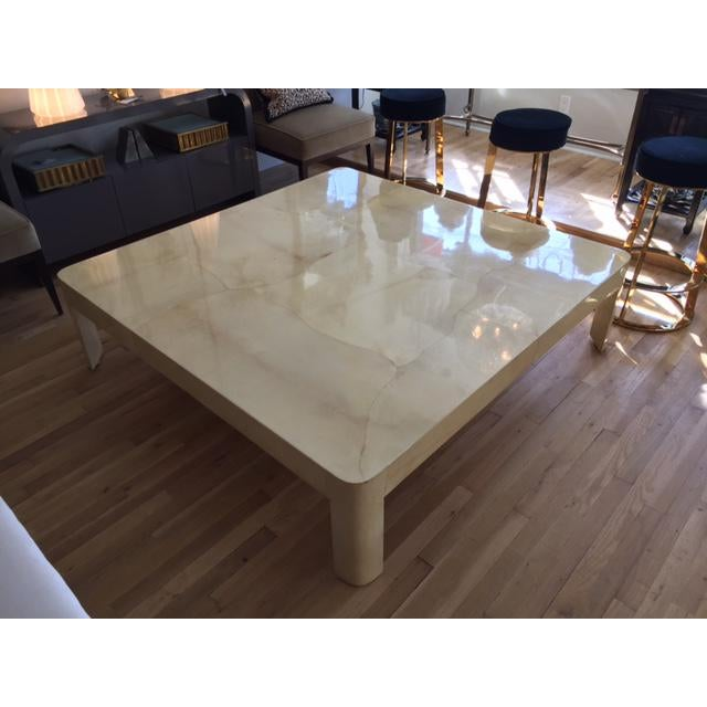 Karl Springer Style Monumental Goatskin Cocktail Table - Image 6 of 8