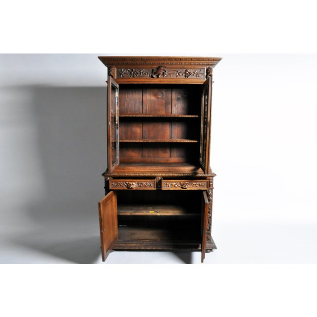 "Mid 19th Century French ""Black Forest"" Style Hunting Oak Buffet Cabinet For Sale - Image 5 of 11"