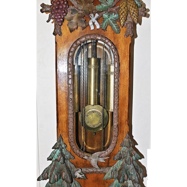 Green Black Forest Grandfather Tall-Case Clock For Sale - Image 8 of 13