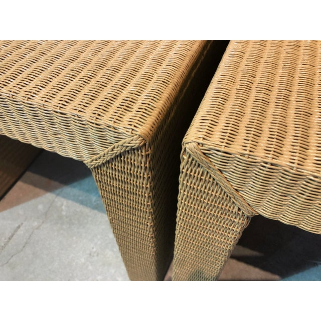 Janus Et Cie Wicker Tables - a Pair For Sale - Image 4 of 7