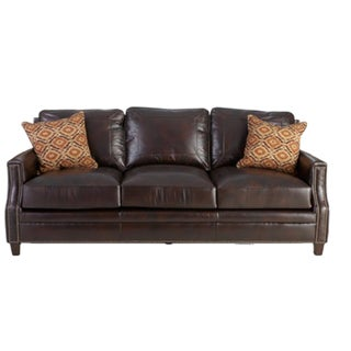 Rich Brown Leather Sofa - New! For Sale