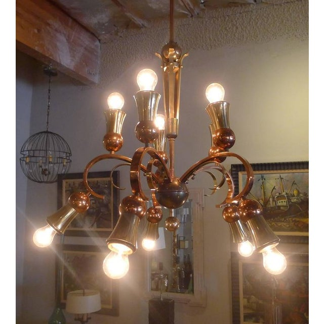 Brass and Copper Chandelier - Image 10 of 10