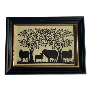 Vintage Hand-Cut Paper Silhouette of Black Sheep and Trees For Sale