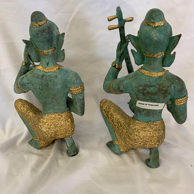 Bronze Bronze Thai Musicians Statues - a Pair For Sale - Image 8 of 11