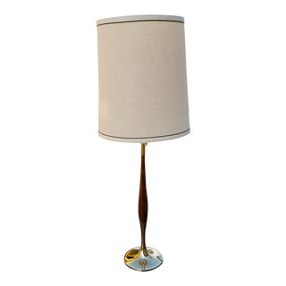 Laurel Walnut and Polished Brass Tulip Table Lamp