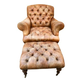 Vintage Chesterfield Style Tufted Leather Club Chair & Ottoman For Sale