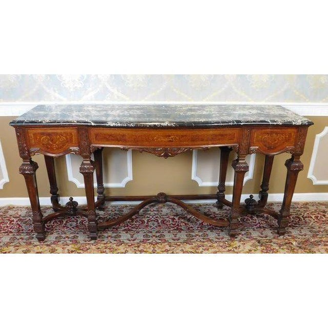 Italian Rococo Carved Mahogany Marble Top Console - Image 3 of 10