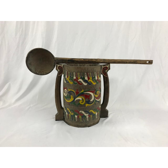 Paint Polychrome Painted Carved Wooden Water Bucket With Ladle For Sale - Image 7 of 7