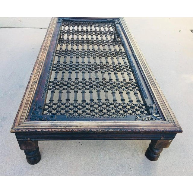 Teak Wood Large Coffee Table With Iron Inset Jali Work For Sale - Image 12 of 13