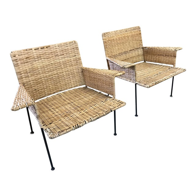 Van Keppel Green Rattan & Iron Chairs - A Pair - Image 1 of 11