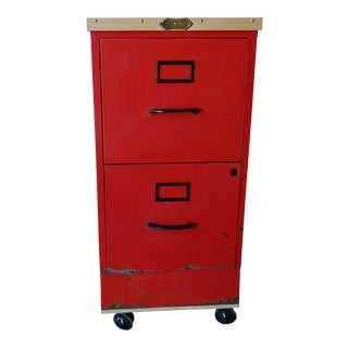 Vintage Super Roller Metal 2-Drawer Rolling Red File Cabinet For Sale