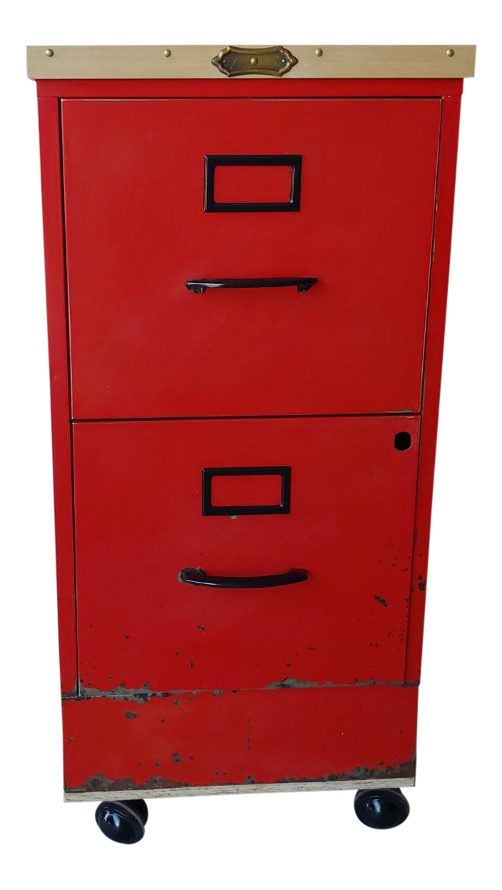 Vintage Super Roller Metal 2 Drawer Rolling Red File Cabinet